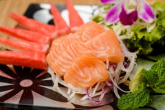 Salmon sashimi Serve with crab Served with wasabi Royalty Free Stock Photo