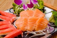 Salmon sashimi Serve with crab Served with wasabi Royalty Free Stock Photos