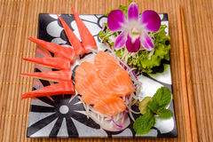 Salmon sashimi Serve with crab Served with wasabi Stock Photography