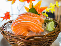 Salmon sashimi served on ice Stock Photography