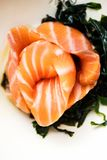 Salmon sashimi with soy sauce and wakame Stock Photography