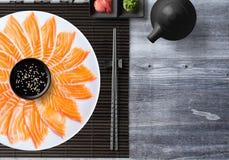 Salmon, Sashimi and Sushi. Japanese food royalty free stock photo