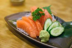 Salmon sashimi with Wasabi Stock Image