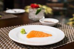 Salmon sashimi. On the white plate Royalty Free Stock Photos