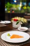 Salmon sashimi. On the white plate Stock Photo