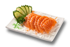 Salmon sashimi with withe plate isolated on white background Royalty Free Stock Photography