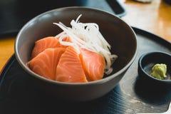 Salmon Sashimi. On the wood table Royalty Free Stock Image