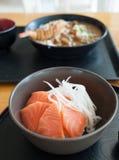Salmon Sashimi. On the wood table Royalty Free Stock Images
