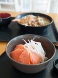 Salmon Sashimi. On the wood table Stock Photo