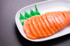 Salmon sashimi with wood texture 1 Royalty Free Stock Photos