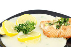 Salmon with sauce Royalty Free Stock Image