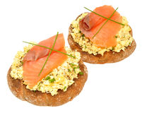Salmon And Scrabbled Eggs On Toast Stock Photography