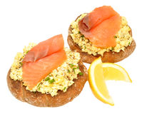 Salmon And Scrabbled Eggs On Toast Royalty Free Stock Photography