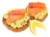 Salmon And Scrabbled Eggs On Toast Stock Photos