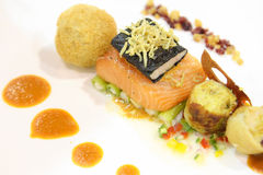 Salmon with the sdishes Royalty Free Stock Images