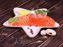Salmon with sea salt. Fresh salmon with spices and sea salt Stock Images