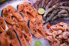 Salmon with seafood Stock Images