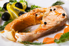Salmon served with olives and lemon Stock Image