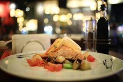 Salmon served in restaurant Stock Photos