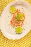 Salmon serving with fresh dill Stock Image