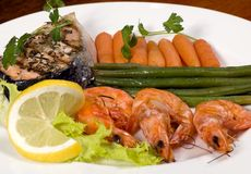 Salmon and Shrimp 1 Royalty Free Stock Photography
