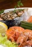 Salmon and Shrimp 3. A gourmet salmon and shrimp dinner with vegetables Stock Photos