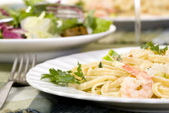 Salmon and Shrimp Fettuccine Stock Photography