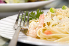 Salmon and Shrimp Fettuccine Stock Images