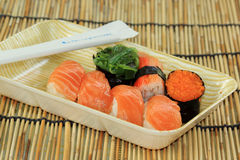 Salmon,shrimp,seawe ed sushi in foam box Stock Photography