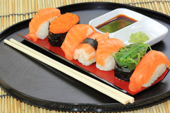 Salmon,shrimp,seaweed sushi in the tray Stock Images