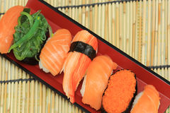 Salmon,shrimp,seaweed sushi in the tray Royalty Free Stock Photo