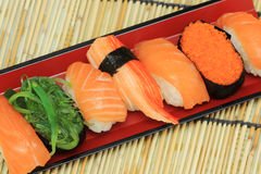 Salmon,shrimp,seaweed sushi in the tray Royalty Free Stock Image