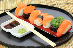 Salmon,shrimp,seaweed sushi in the tray Stock Photo