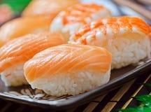 Salmon and Shrimp Sushi. Raw salmon and shrimp sushi with rice royalty free stock image