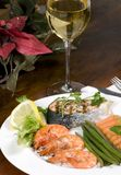 Salmon and Shrimp with wine stock images