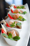 salmon and shrimps with fish sauce Royalty Free Stock Image