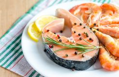 Salmon & shrimps Royalty Free Stock Photography