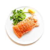 Salmon and shrimps pocket raw isolated Stock Photos