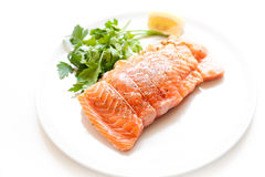 Salmon and shrimps pocket raw on white plate Royalty Free Stock Photos