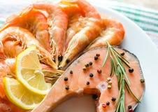 Salmon & shrimps Royalty Free Stock Photos