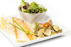 Salmon with side of salad Royalty Free Stock Images