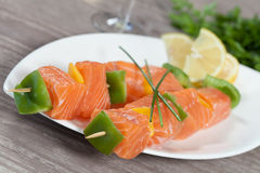 Salmon skewer Stock Photos