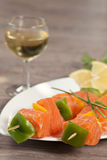 Salmon skewer Stock Images
