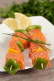Salmon skewer Stock Photography