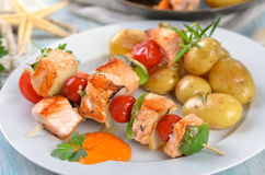 Salmon skewers Royalty Free Stock Image
