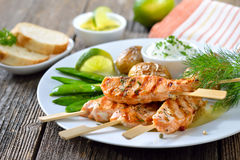 Salmon Skewers Royalty Free Stock Photo
