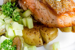 Salmon skewers with fried potatoes Stock Photography