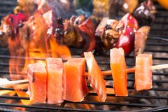 Salmon skewers Royalty Free Stock Images