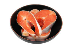 Salmon slice in the dish Stock Images