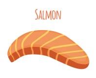 Salmon Slice Morceau de poissons, filet, bifteck de poissons Style plat Image stock